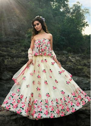 Excellent Soft Net Off White Party Wear Lehenga Choli
