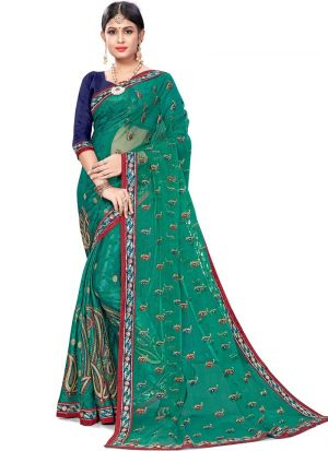 Exclusive Green Wedding Wear Jacquard Net Saree With Blouse