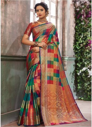 Exclusive Multi Color Wedding Wear Banarasi Pure Silk Saree With Blouse