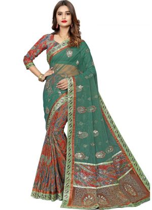 Exclusive Multi Color Wedding Wear Jacquard Net Saree With Blouse