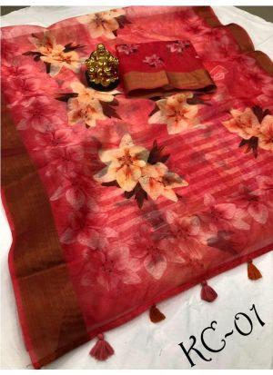 Exclusive Multi Color Wedding Wear Linen Saree