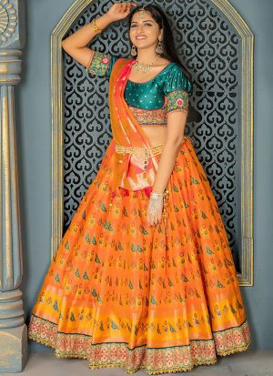 Exclusive Peach Banarasi Silk Lehenga Choli