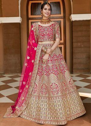 Exclusive Pink Velvet Bridal Lehenga