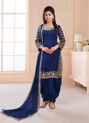 Exclusive Silk Salwar Suit With Mirror Work