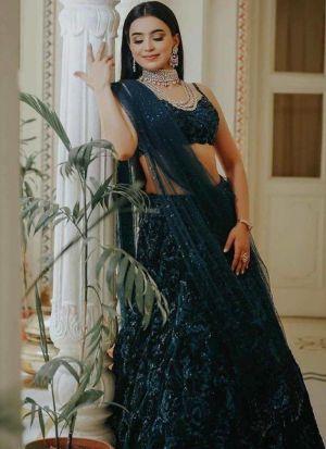 Exquisite Royal Blue Georgette Lehenga
