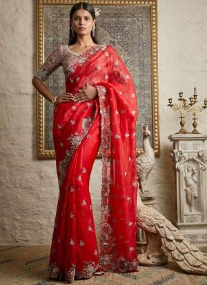 Eye captivating Red Embroidery Work saree