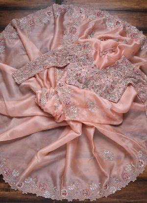 Eye Catching Pink Heavy Organza Saree