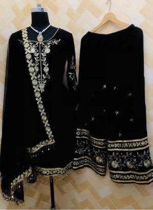 Fahionable Black Embroidered Salwar Kameez