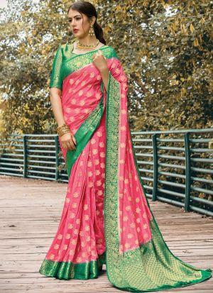 Fanciful Light Pink Naylon Silk Saree With Blouse