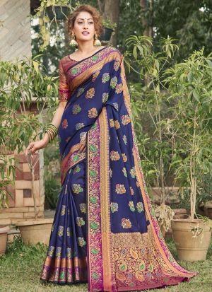 Fanciful Navy Banarasi Silk Saree With Blouse