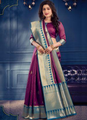 Fanciful Purple Banarasi Crystal Silk Saree With Blouse