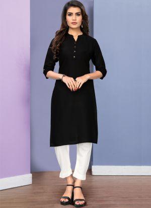 Fancy Black 3-4 Sleeves Cotton Knee Length Kurti