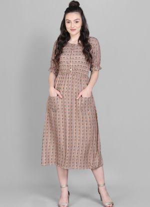 Fancy Mill Print Heavy Rayon Cream Front Pocket Dress