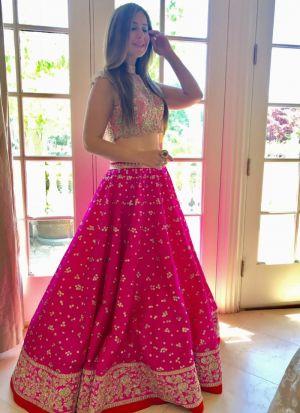 Fancy Thread Work Pink Lehenga Choli