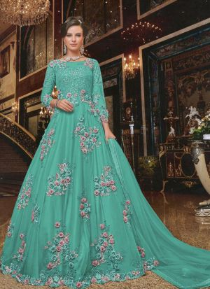 Fashionable Aqua Heavy Net Embroidered Gown