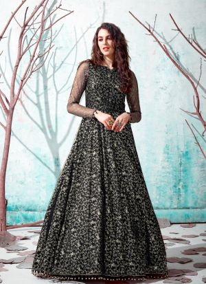 Fashionable Black Metalic Foil Net Gown