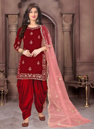 Fashionable Embroidered Red Velvet Salwar Suit