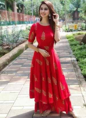 Fashionable Red Twill Digital Printed Party Wear Palazzo Suit