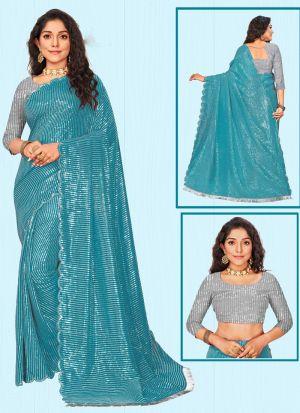 Fashionable Teal Blue Sequins Work Saree