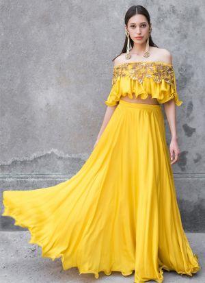 Fashionable Yellow Taffeta Silk Designer Lehenga Choli