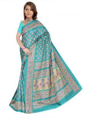 Festival Wear Multi Color Rice Silk Printed Saree