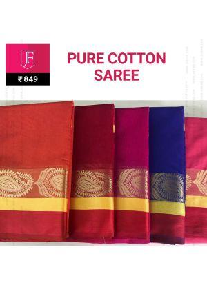 Festive Pure Cotton Jaquard Zari Border Saree With Chit Pallu