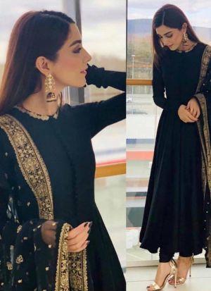 Festive Wear Black Embroidered Georgette Salwar Suit