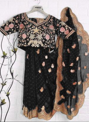 Festive Wear Black Embroidery Saree