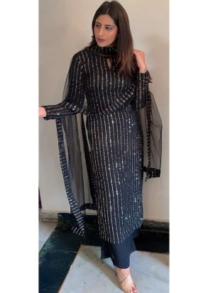 Festive Wear Black Foux Georgette Bollywood Designer Palazzo Suit