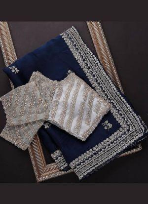 Festive Wear Blue Sequence Work Saree
