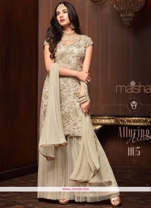 Festive Wear Cream Color Designer Palazzo Style Salwar Suit