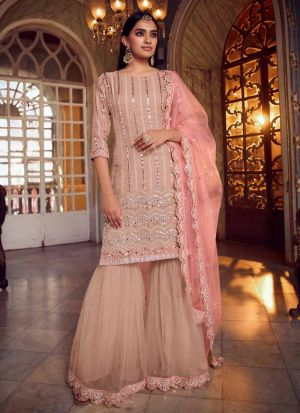 Festive Wear Foil Mirror Work Peach Salwar Suit