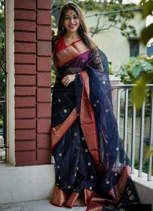 Festive Wear Navy Blue Banarasi Silk Saree