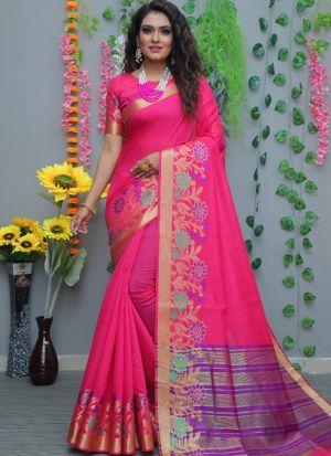 Festive Wear Pink Cotton Silk Saree