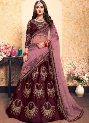 Festive Wear Satin Brown Designer Lehenga Choli