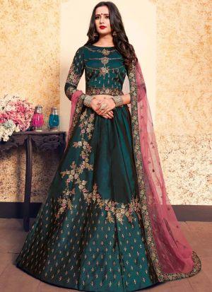 Festive Wear Satin Dark Green Designer Lehenga Choli