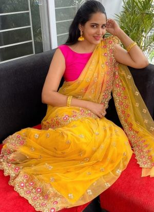 Festive Wear Sparkle Soft Net Yellow Fancy Zari Work Saree