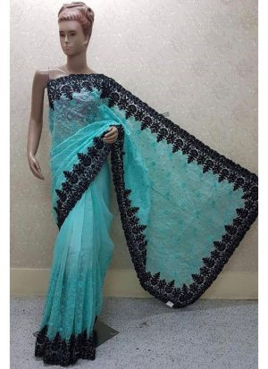 Firozi Color New Launching Heavy Net Saree Collection