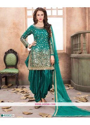 Firozi Embroidered Mirror Work Traditional Salwar Suit With Georgette Dupatta