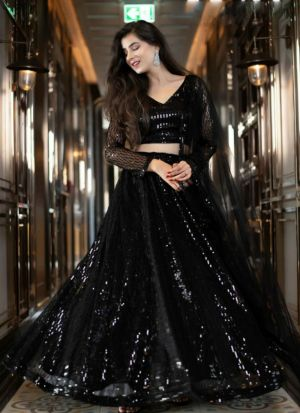 Flamboyant Black Color Net Sequence Work Lehenga Choli