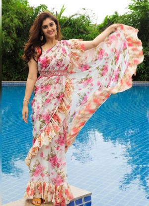 Floral Digital Printed Embroidery White Georgette Party Wear Ruffle Saree