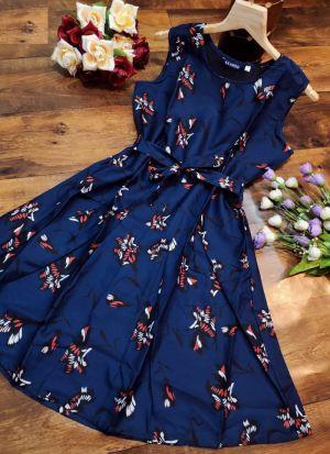Floral Print Navy Colour Digital Print Knee Length Dress
