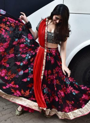 Flower Print Crepe Silk Black Party Wear Lehenga Choli