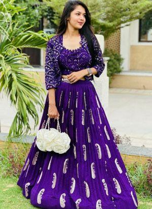 Foil Printed Purple Lehenga Choli