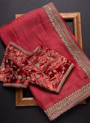 French Raspberry Rajwadi Silk Saree