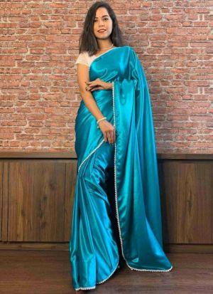 Freshly Added Turquoise Blue Satin Saree