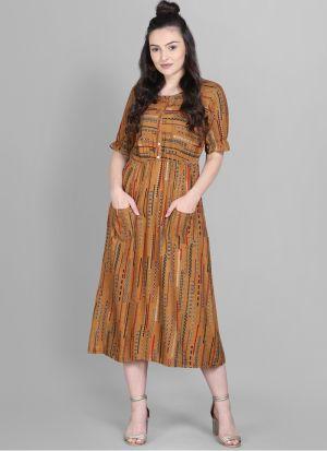 Front Pocket Brown Colour Foli Print Heavy Rayon Western Dress
