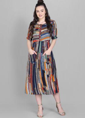 Front Pocket Multi Colour Foli Print Heavy Rayon Western Dress