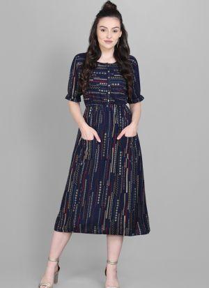 Front Pocket Navy Colour Foli Print Heavy Rayon Western Dress