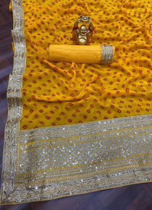Georgette Digital Printed Yellow Saree
